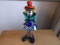 VINTAGE ITALIAN VENTIAN MURANO GLASS CLOWN WITH SQUEEZE BOX