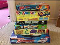 board games - Air slammers, rhino rush, skull island, brain drain, buzz the wire, screwball scramble