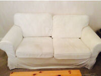 two seater ikea sofa Ektorp with white cover