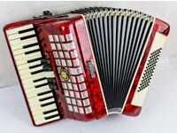 Studio 72 Bass Accordion in Red Pearl - 3 Voice - 34 Keys ***
