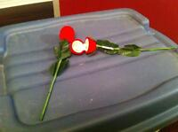 2 Red Roses, They open with 2 stud earrings in each