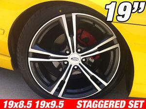 4x GT335 Style 19 inch STAGGERED Machine Dark Wheel Ford Falcon AU BA BF FG FPV