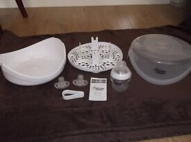 Tommee Tippee Microwave Steriliser with New Bottle, 2 New Dummies and Tongs