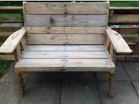 Wooden garden bench and chair - Kirby bedon
