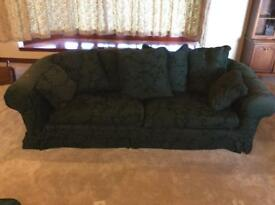 Large 3 piece sofa suite-Dark Green