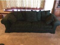 Large 3 piece sofa suite-Dark Green