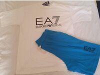 EA7 EMPORIO ARMANI REGULAR FIT T-SHIRT & SHORT - WHITE & BLUE - SIZE: L & XL AVAILABLE