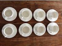 Set of 8 bone china tea cups & saucers
