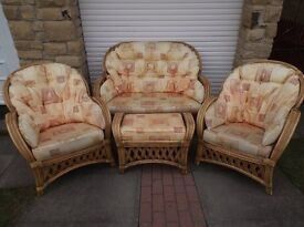 Home cane furniture suite with sofa, 2x chairs, footstool, 2x tables and rug. £175