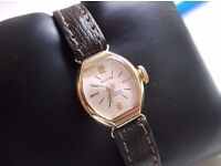 LADIES VINTAGE HAND WIND SWISS ANCRE 14K 0585 SOLID GOLD WATCH 17 JEWEL