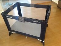 Black Travel Cot/Playpen with carry bag & padded mattress, excellent condition as only used once