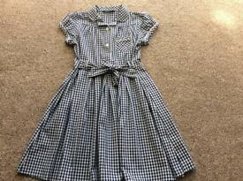 School summer dresses x2 Navy blue & white, George, age 6-7