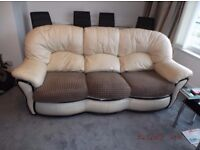 Leather sofa (3 seater) with 2 matching chairs beige leather with brown fabric seats