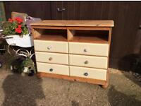 Large pine and cream painted Chest Of drawers