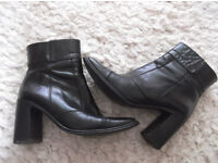 Next Ankle Boots Black Leather Size UK 5