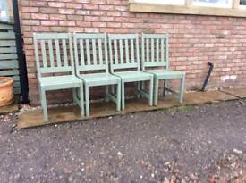 4 X hardwood outside chairs, painted heritage green