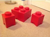 Lego storage bricks - red