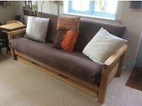 Stunning 3 seater Oak frame Futon Company sofa bed + original mattress + large drawer + side table!