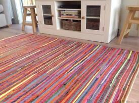 Lightly used multi coloured chindi rag rug, finished edge was £125 200x400cm