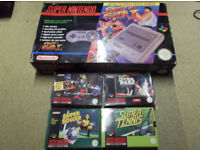 super nintendo snes boxed console and games