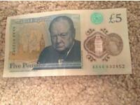 New AA £5 pound note
