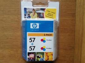 HP 57 ink cartridges, original twin pack, unopened genuine cartridges.