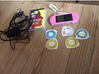 PSP console Pink and games