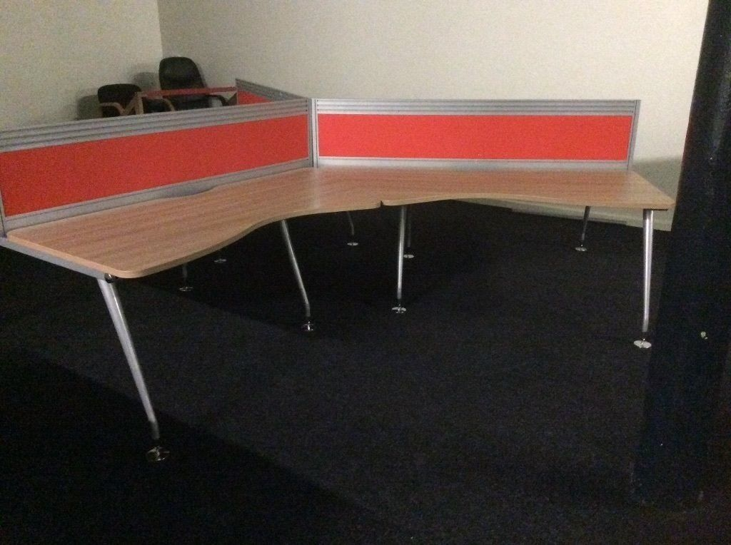 Six Beech Angled Desks & Dividers