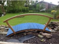 Hardwood bridge for over a pond or waterfall