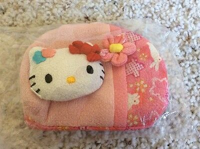 NWT Sanrio Hello Kitty Kimono Chirimen Crepe Fabric Pink Pouch Coin Purse