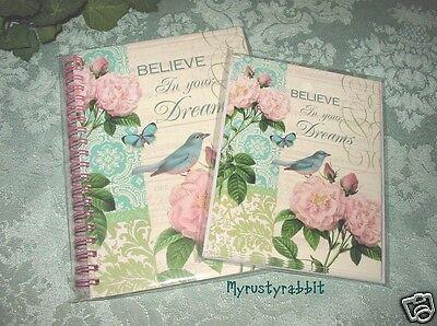 Paula Scaletta Rose & Bird Journal & Note Card Set ~ Abbington Park Floral - New