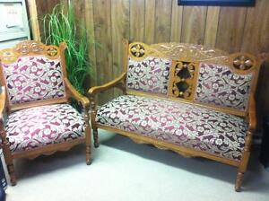 Antique Settee and matching chair London Ontario image 1