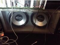 Mac audio 1200watt subs in a sandstorm box all lights up led blue