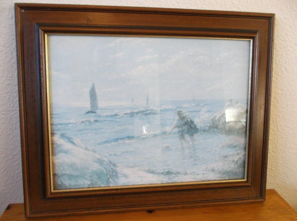 Wooden Picture Frame With Glass Reproduction Shoreline Image Image
