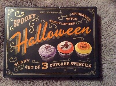 WILLIAMS SONOMA SPOOKY HALLOWEEN CUPCAKE STENCILS SET OF THREE NEW Shipping inc.