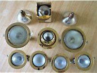 Brass effect flush ceiling spot lights and bulbs