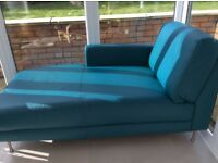 Teal blue leather chaise longue