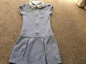 Marks & Spencer's Navy blue & white school summer dress, age 7-8