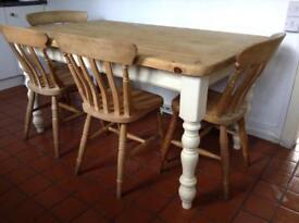 Farmhouse style Oak table 4ft 11x 3ft