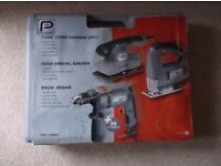 SET OF 3 POWER TOOLS IN STURDY CARRYING CASE WITH ACCESSORIES** NEW ** UNUSED * P-PERFORMANCE