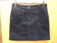 M&S size 14 short velvety skirt in very dark blue / black