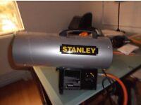 Stanley Gas blow space heater c/w gas bottle (approx 1/3 full)