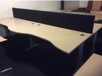 Four Light Oak Wave Front Desks and Dividers.