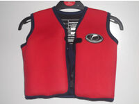 Konfidence swim jacket buoyancy aid including floats. Age 4-5/ max weight 21 kg. Red and yellow.