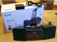 iLuv Dual Alarm Clock I-phone Ipod Docking Station with FM radio & Shaker New