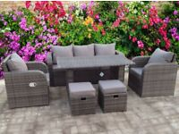 RATTAN RECLINER WICKER GARDEN OUTDOOR TABLE AND DINING FURNITURE PATIO SET