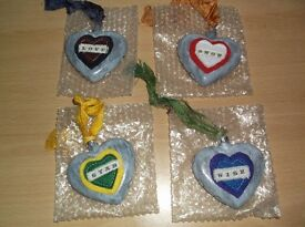 4 x OOAK HANDCRAFTED DISTRESSED PAINTED ALTERED ART GLASS HANGING HEART BAUBLES