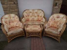Home cane furniture suite with sofa, 2 x chairs, footstool, 2 x tables and rug. £149 the lot!