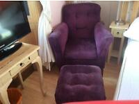 Next purple arm chair and foot stool