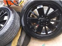 SET 4 ,16 INCH ,5 STUD 5 X 108 PCD, REFURBED BLACK,RENAULT, ALLOY WHEELS C/W MATCHING SET TYRES